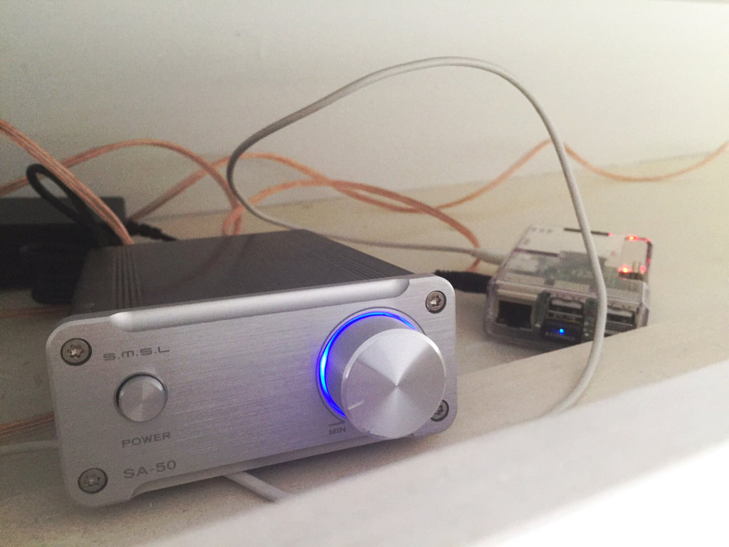 Amp and PI on top of cabinet during initial setup